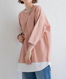 USAコットンレイヤード7分袖カットソー(Tシャツ/重ね着)