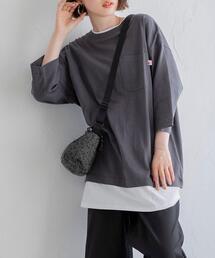 UVカット対応USAコットンレイヤード7分袖Tシャツ