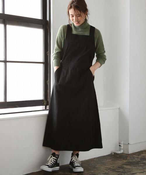 coen(コーエン)の「ライトチノサロペットスカート ( ジャンパースカート )(ジャンパースカート)」|ブラック