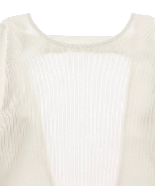 Coconut Button Open Back Long Sleeve Top/バックデザインカットソー