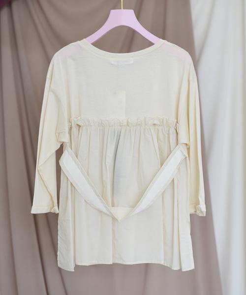 【Eimee Law】バックギャザーグログランテープベルト付Tシャツ