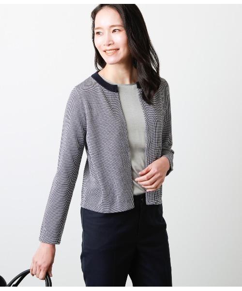 鹿の子2色編み ジャケット風ニットカーディガン