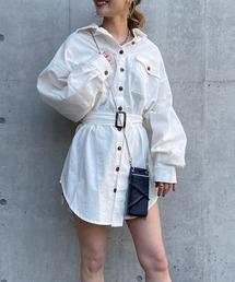 ベルト付きシャツジャケットオフホワイト