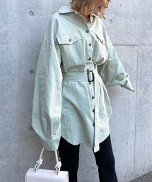 ベルト付きシャツジャケットグリーン