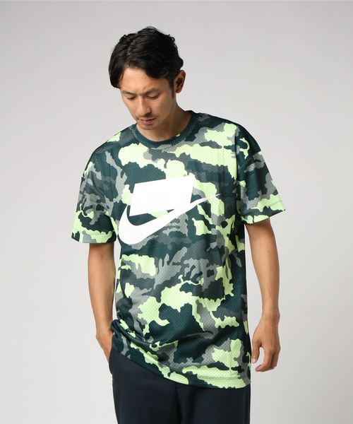 NIKE 나이키 CAMO 메쉬 SS 톱스 928628 372MIDNIGHT SPRUCE/BARELY VOLT/WHITE