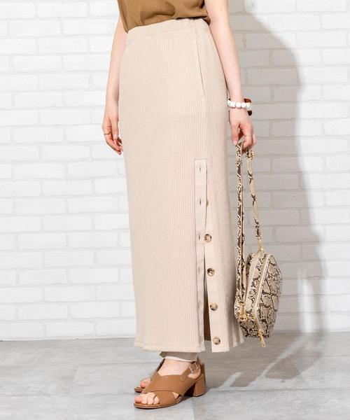 【WEB限定 セットアップ対応】ヘビーワッフルサイドボタンスカート#