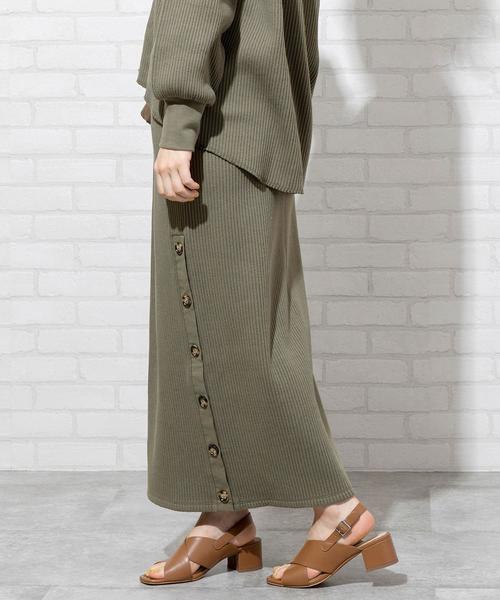 coen(コーエン)の「【WEB限定 セットアップ対応】ヘビーワッフルサイドボタンスカート#(スカート)」|カーキ