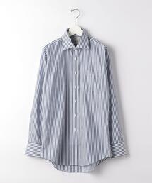 Harvie & Hudson ストライプ ブリティッシュ ワイドカラー ドレスシャツ