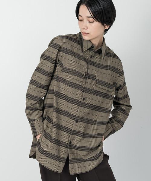 Allumer(アリュメール)の「レギュラーカラータータンチェックシャツ(シャツ/ブラウス)」|ブラウン