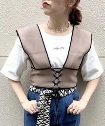 archives(アルシーヴ)の配色ビスチェ×半袖TシャツSET(Tシャツ/カットソー)