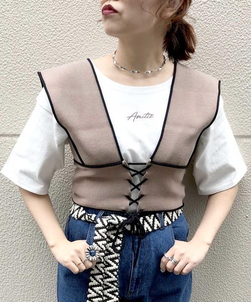 archives(アルシーヴ)の「配色ビスチェ×半袖TシャツSET(Tシャツ/カットソー)」|モカ