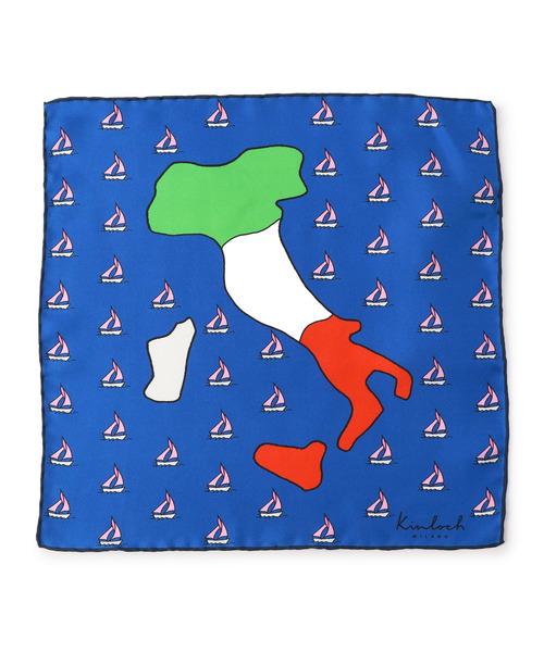 KINLOCH / イタリア柄シルクポケットチーフ