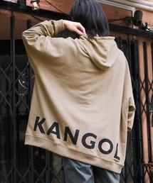 【BASQUE -enthusiastic design-】KANGOL カンゴール BASQUE magenta 別注 バックプリント スーパービッグシルエットプルオーバーパーカーベージュ