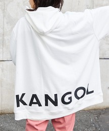 【BASQUE -enthusiastic design-】KANGOL カンゴール BASQUE magenta 別注 バックプリント スーパービッグシルエットプルオーバーパーカーホワイト
