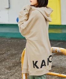 【BASQUE -enthusiastic design-】KANGOL カンゴール BASQUE magenta 別注 バックプリント スーパービッグシルエットプルオーバーパーカーサンドベージュ