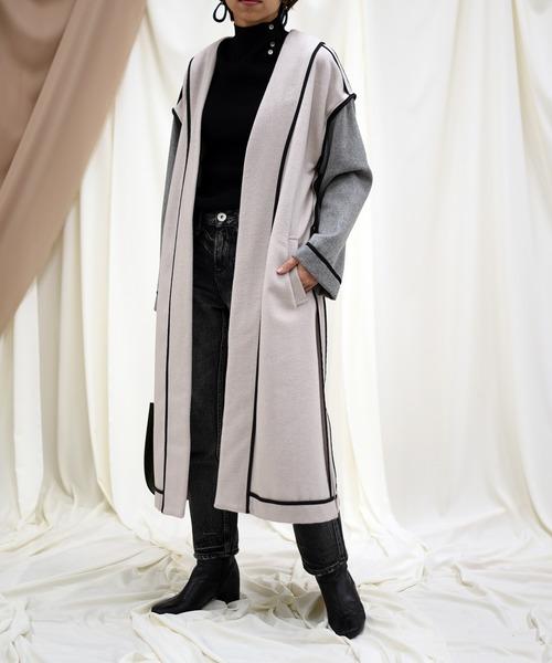 【Eimee Law】パイピング配色ウールコート