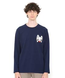 graniph(グラニフ)のコラボレーション刺繍ロンT/あかんべフェイス(ノンタン)(ネイビー)(Tシャツ/カットソー)