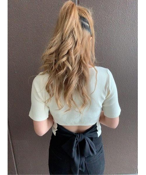 one way(ワンウェイ)の「5分袖バックリボン(Tシャツ/カットソー)」|ホワイト