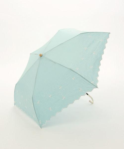 Afternoon Tea(アフタヌーンティー)の「シャンブレーフラワー柄晴雨兼用折りたたみ傘 日傘(折りたたみ傘)」|ブルー