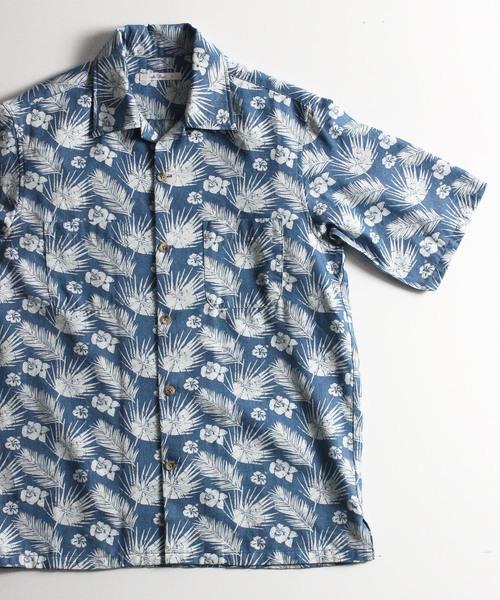 ハイビスカス柄オープンカラーシャツ