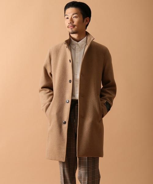 ◆カシミヤブレンドメルトンスタンドコート