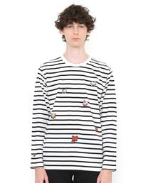 graniph(グラニフ)のコラボレーション刺繍ロンT/みんなであかんべフェイス(ノンタン)(ブラック)(Tシャツ/カットソー)