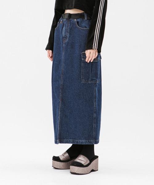 【RUNNING HIGH 】カーゴポケット デニムロングスカート