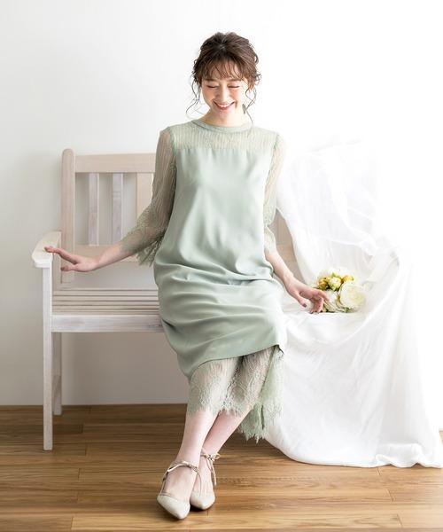 2WAYデザイン·コードレース×バックサテンジョーゼット切り替えデザイン·ロング丈ドレス·ペチコート付き