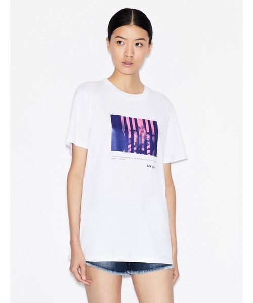【A|Xアルマーニ エクスチェンジ】MR.ARMANIフォトデザイン 半袖クルーネックTシャツ/BOY FIT