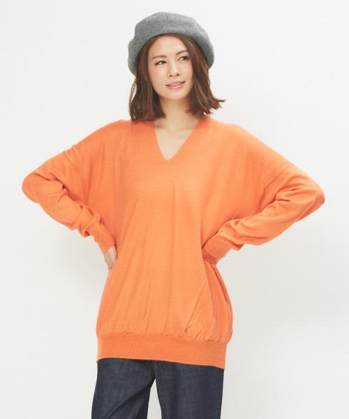 collex(コレックス)の「ホールガーメントVネックプルオーバー(ニット/セーター)」|オレンジ