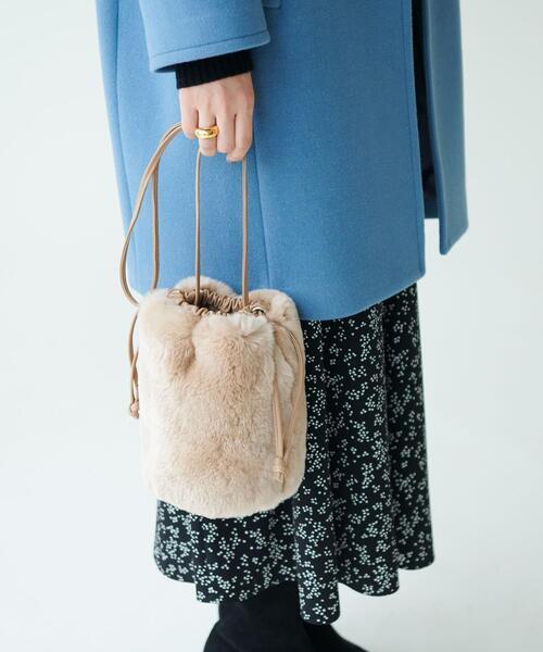 【otonaMUSE12月号掲載】SMF EM ファー 巾着バッグ / ショルダーバッグ