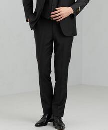 [マルゾット] MARZOTTO ドビー無地 スリム ノープリーツ スーツパンツ