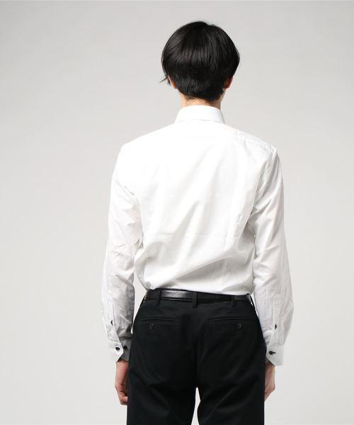 エムエフエディトリアルメンズ/m.f.editorial:MEN 形態安定白無地柄2枚衿ボタンダウンビジネスドレス長袖シャツ