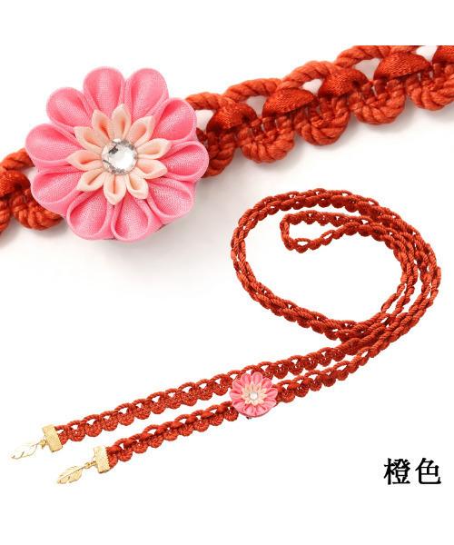 Dita(ディータ)の「ゆかた姿を引き立てる♪2020年お花のワッフル飾り紐【A】(和装小物)」|オレンジ