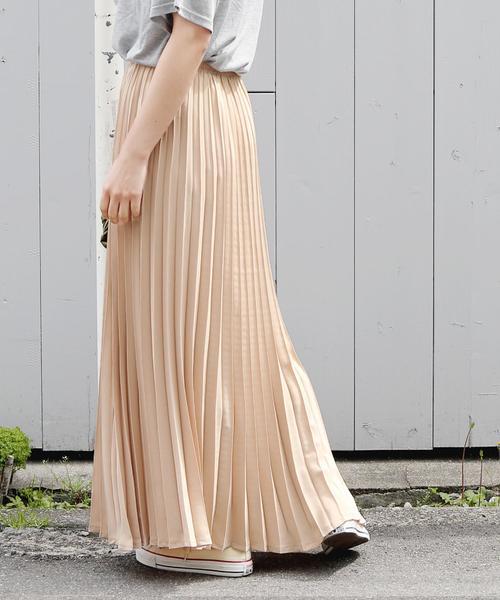 Girly Doll(ガーリードール)の「ジョーゼットロングプリーツスカート(スカート)」|ベージュ