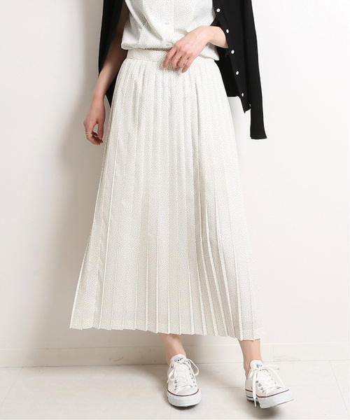 IENA(イエナ)の「ピンドットプリント プリーツスカート◆(スカート)」 ホワイト