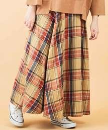CUBE SUGAR(キューブシュガー)の先染めネップ ネルチェック フレアスカート(スカート)