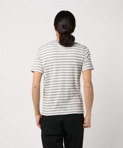 針抜ボーダー柄Vネック半袖Tシャツカットソー