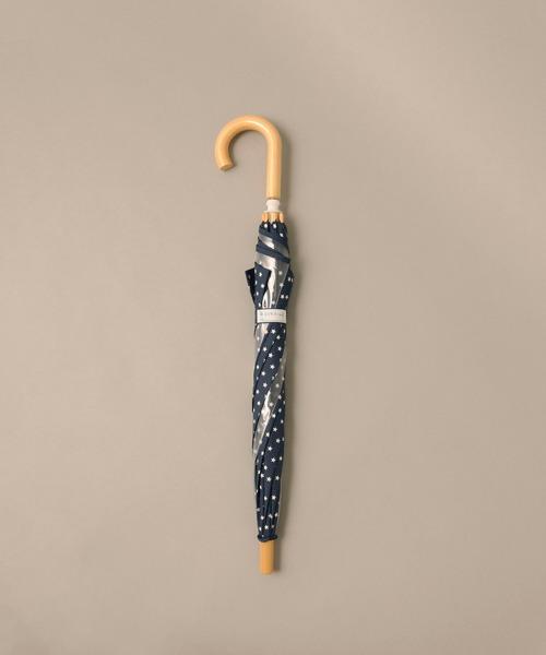 こども ビームス(コドモビームス)の「こども ビームス / ユニセックス 窓付き bロゴ カラー 長傘 (45 & 50cm)(長傘)」|ネイビー