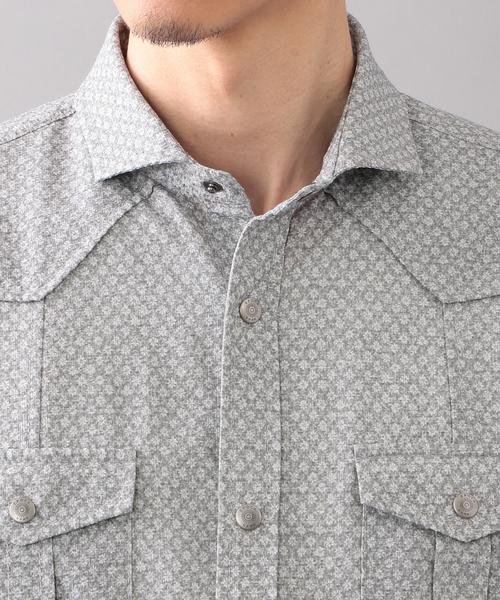 フラワープリントサッカーシャツ