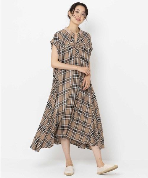PLAID CHECK FLARE DRESS