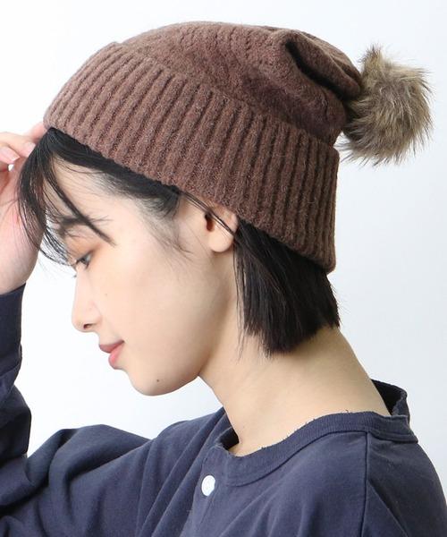 □ ビッグヘリンボーンニット帽