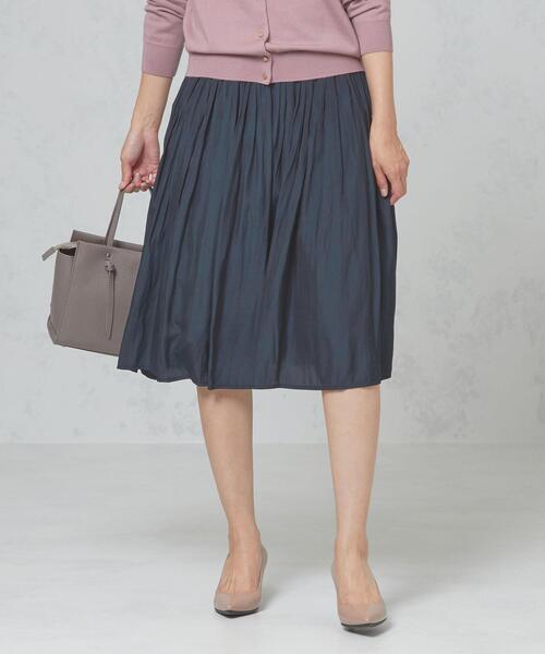 <closet story>□Pサテン ギャザースカート -手洗い可能-