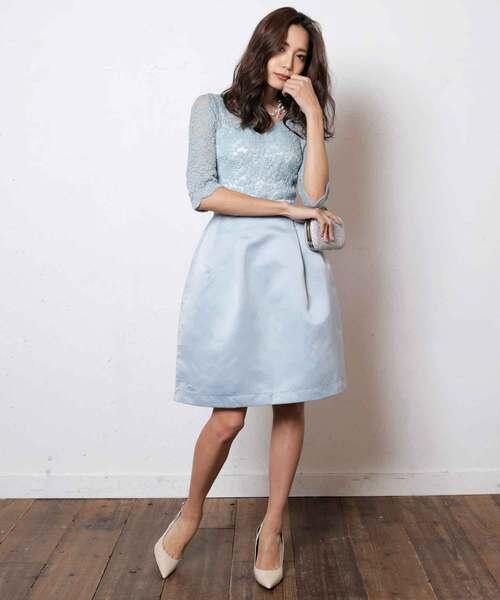 DRESS LAB(ドレスラボ)の「レース サテン ワンピース ドレス 結婚式 フォーマル パーティードレス 二次会 卒業式 卒園式 入学式(ドレス)」|ブルー