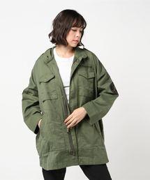 ワッペン付オーバーサイズ M-65ジャケットカーキ
