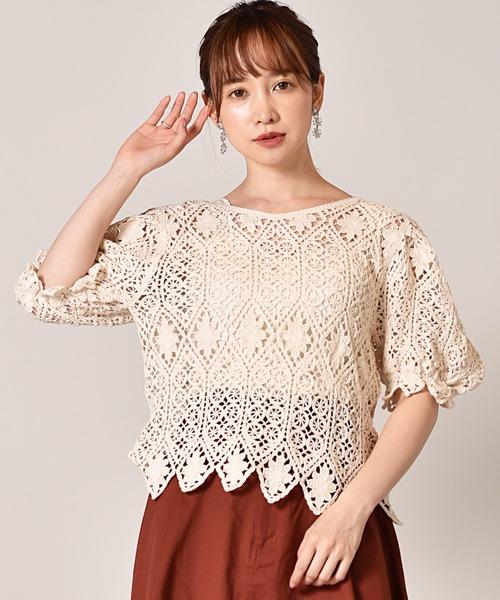 パフ袖カギ編みレースカットソー