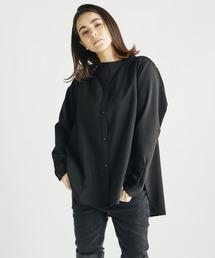 スタンドカラーシャツブラック