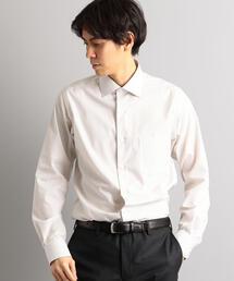 スリム イージーアイロン ストライプ S/ワイドカラー シャツ