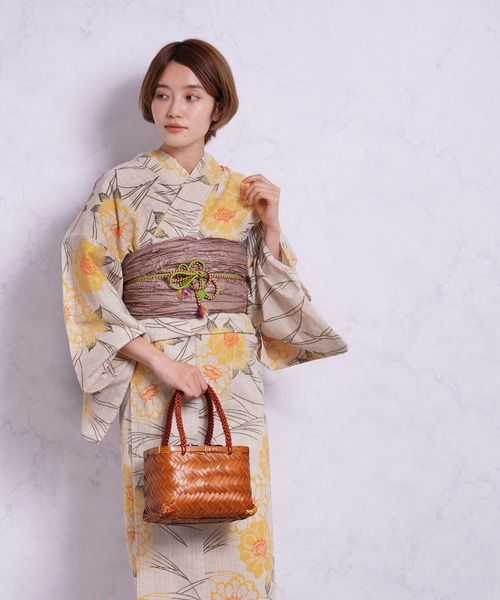 utatane(ウタタネ)の「注染浴衣3点セット 先染めベージュに黄色の露芝花(浴衣)」|詳細画像