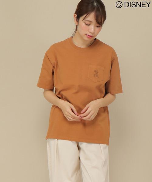 ミッキープリント胸ポケットTシャツ